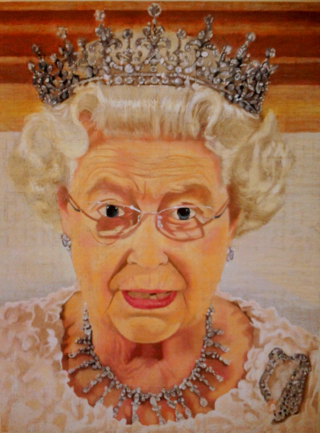 Kate Carder-Thompson, HRH QE2, chalk on cotton, silk, and linen, 91.7 cm x  122.3 cm, 2013